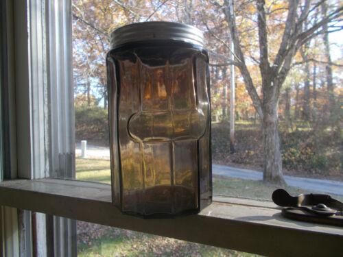 100 YR OLD GLASS 12 SIDED COFFEE JAR & ORIGINAL LID FROM HOOSIER CABINET SET