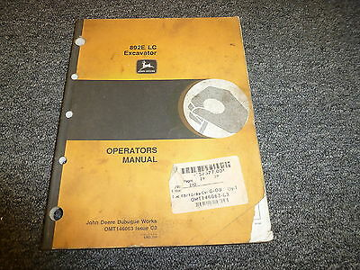 John Deere Model 892e Lc Excavator Owner Operator Maintenance Manual Omt146063