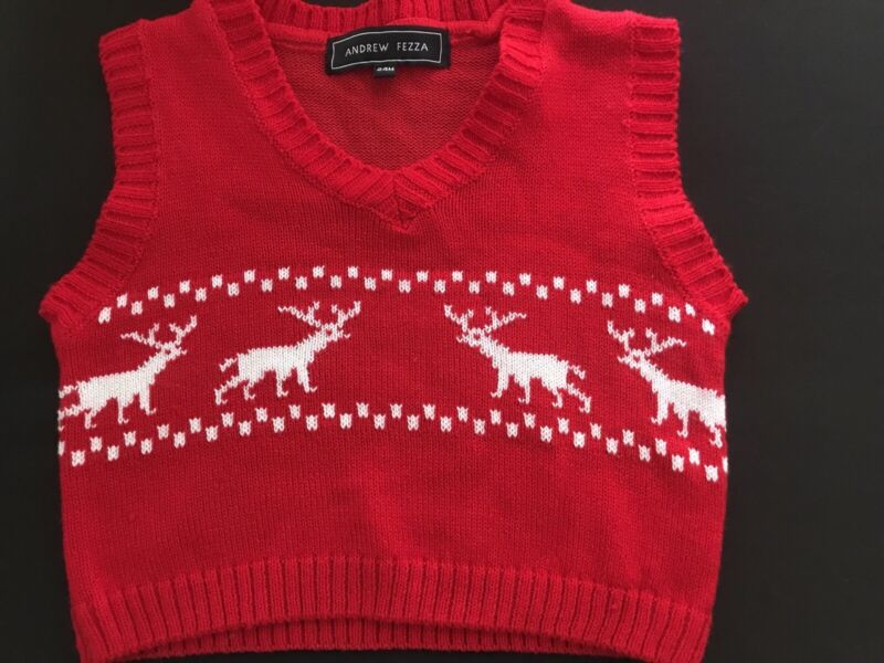 Infant Boys ANDREW FEZZA Red Nordic Christmas Sweater Vest Size 24 Months
