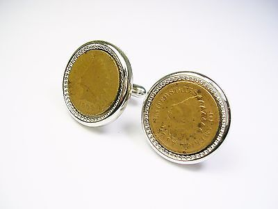 One Cent Coin Cufflinks - VINTAGE COIN CUFF LINKS INDIAN HEAD PENNY ONE CENT CUFFLINKS FORMAL WEAR