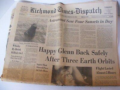 John Glenn Returns After Earth Orbits Richmond Times Dispatch  February 1962