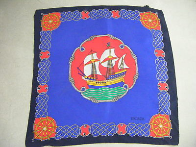 "ESCADA Vtg Navy ""Sailing boat"" Small Silk Scarf/ Hankerchief-16.75""x 16.75"" for sale  Shipping to India"