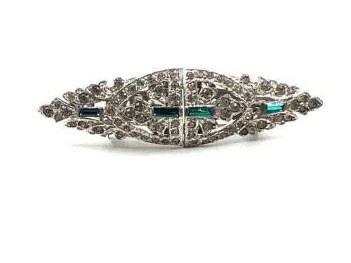 VTG Art Deco Clear & Green Rhinestones Dress Scarf Clip Pin PAT 1852188/1798867