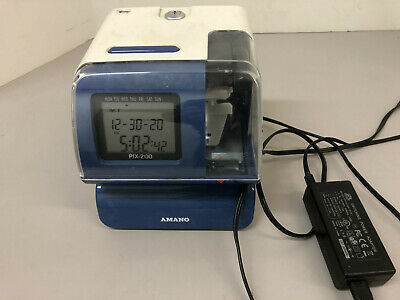 Amano Pix200 Time Recorder Digital Punch Clock Pix-200 - No Key- New Ribbon