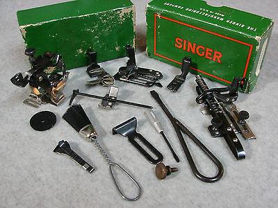 """BLACKSIDE"" Vtg SINGER accessories 6 feet PLUS Featherweight 221,222 &15,99,201"