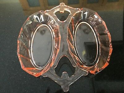 Vintage Pink Depression Glass Divided Plate/Dish with handles-UNIQUE design.EUC