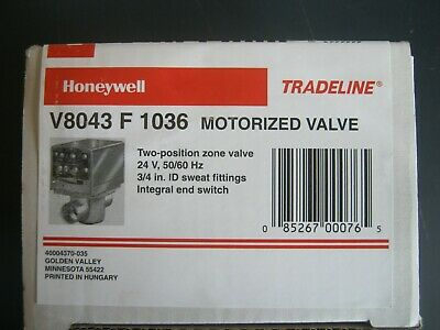 New Honeywell V8043f1036 24vac 34 In Sweat Fittings Motorized Zone Valve