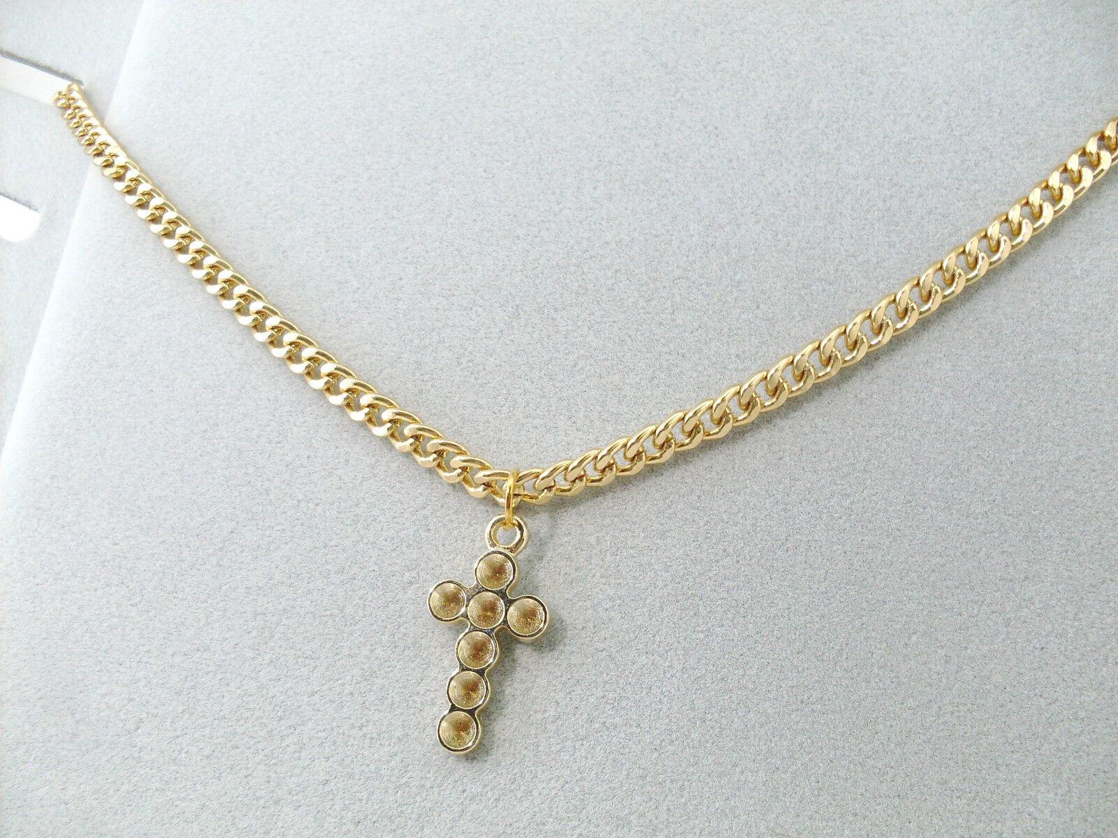 Collana con Croce Oro Unisex Uomo Donna da 45 cm a 60 cm Girocollo Collanina