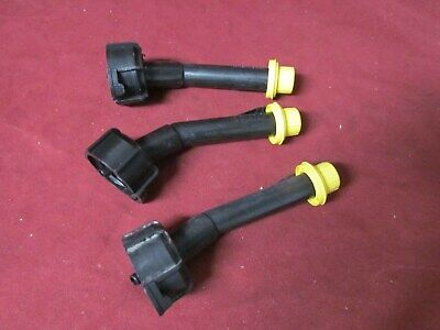 Three Blitz Gas Can Spout W New Yellow Cap Fit 1.4 2.5 5 And 6 Gallon Cans