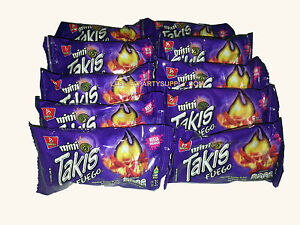Takis Fuego Mini Rolled Corn Tortilla Hot Chips 9 Mini Packs Barcel 1.2-oz- each