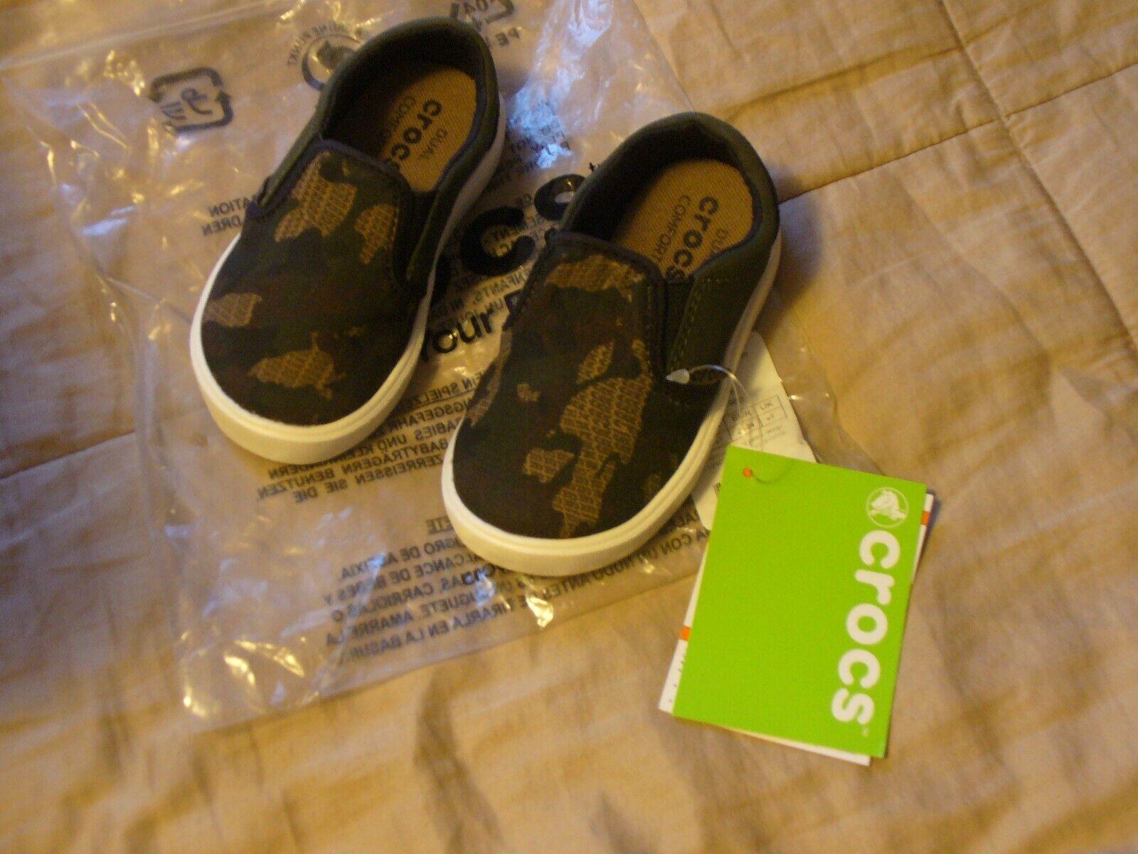 Boy's Little Kid Crocs Citilane Novelty Slip On Shoes Brown Camo  Choice Sz NWT