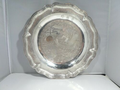 VINTAGE / ANTIQUE HALLMARKED CHINESE STERLING SILVER CHARGER WITH DRAGON