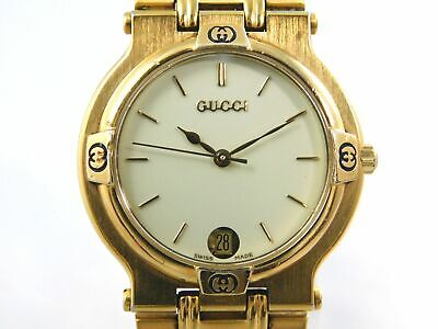 GUCCI 9200M GOLD IVORY DATE MEN'S VINTAGE SWISS MADE WATCH