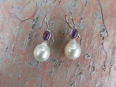 Gold Genuine Amethyst Earring - 14 KT White Gold Amethyst & Genuine Paspaley South Sea Pearl Earring 11 mm