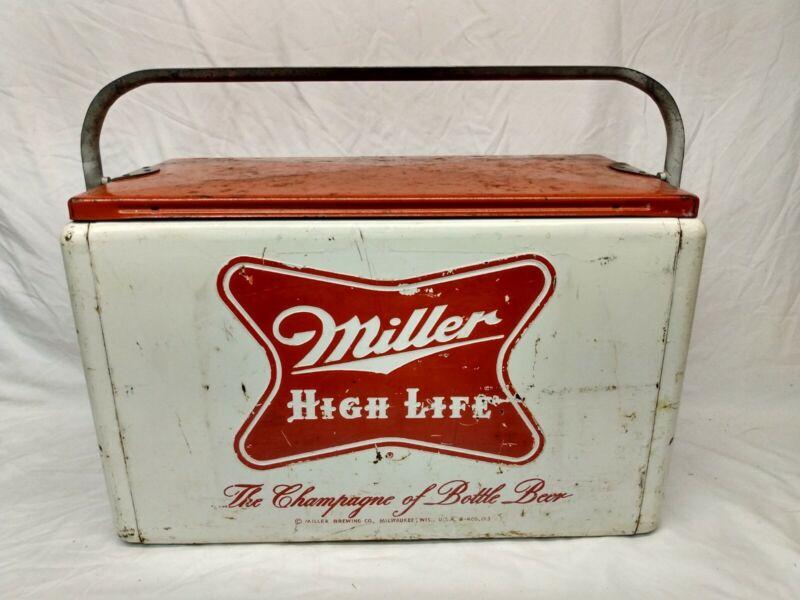 Rare Vintage Cronstroms Miller High Life Beer Picnic Cooler Sign Bottle Camping