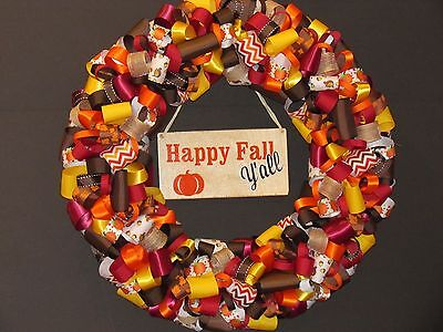 Happy Fall Y'all Ribbon Wreath, Thanksgiving, Halloween ()