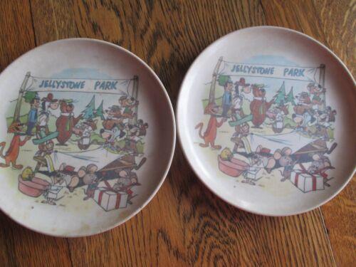 Vintage Melmac Plates Jellystone Park Yogi Bear-Hanna Barbera Characters (Pair)