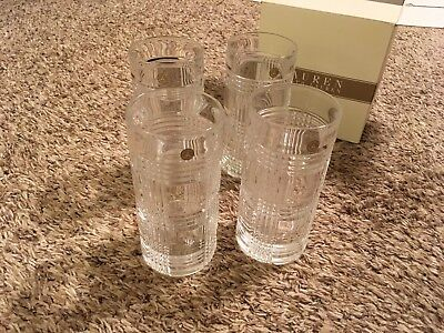 New Ralph Lauren Stamped Lead Crystal Glass Glen Plaid 4 Highball Glassware Set