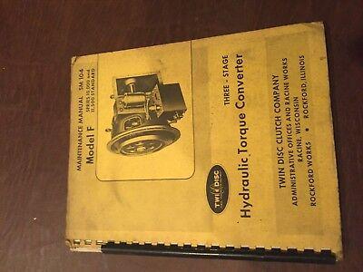 Twin Disc Model 10000 11500 Model F Sm-104 Transmission Repair Service Manual