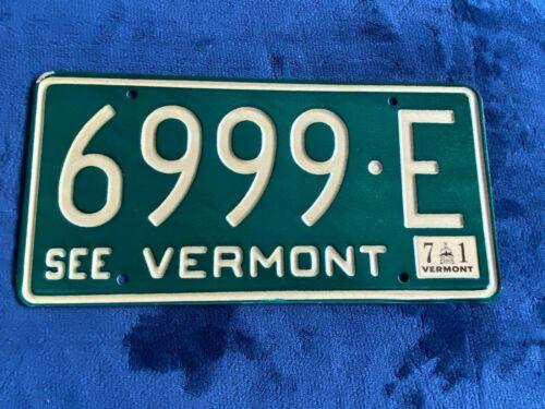 1971 Vermont 6999 E License Plate