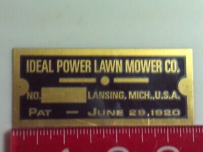 Ideal Power Lawn Mower Engine Name Tag Reproduction Nameplate
