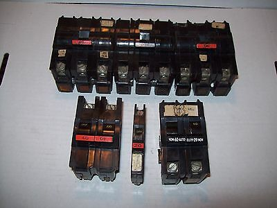 Lot Fpe Federal Pacific Electric 123p Stab 2040506070a Circuit Breakers P882