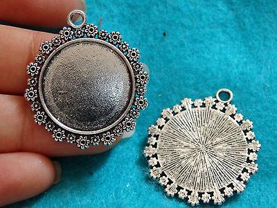 5 photo frame round charms pendants tibetan silver blanks jewellery making 33 mm
