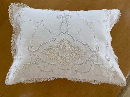 Gorgeous Victorian White Antique Needle Lace / Embroidered Small Boudoir Pillow