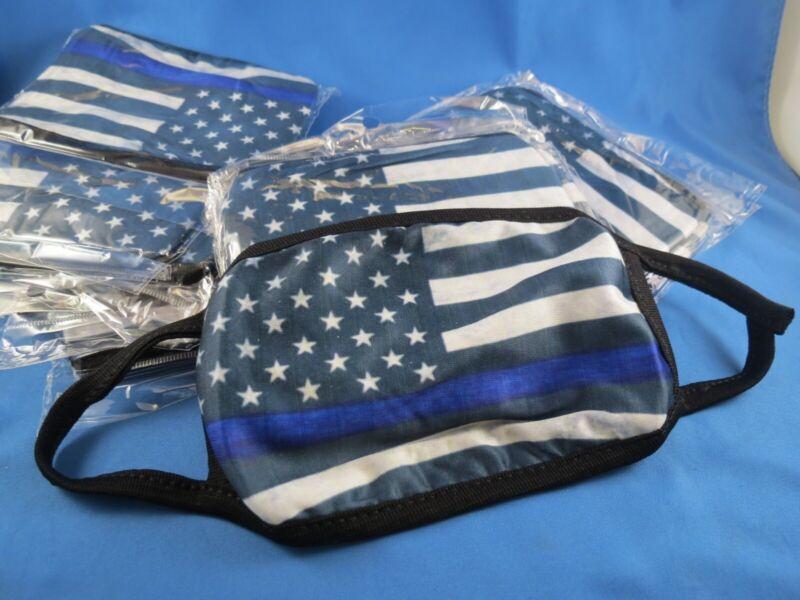WHOLESALE LOT OF 12 BLUE LINE FLAG FACE MASK SUPPORT POLICE LIVES MATTER TRUMP $