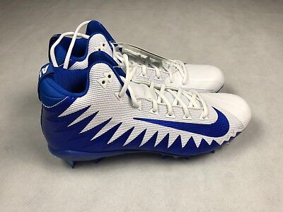 a9a516252 NIKE MENS 12 ALPHA MENACE PRO MID FOOTBALL CLEATS WHITE BLUE 871451 144 NEW  S2