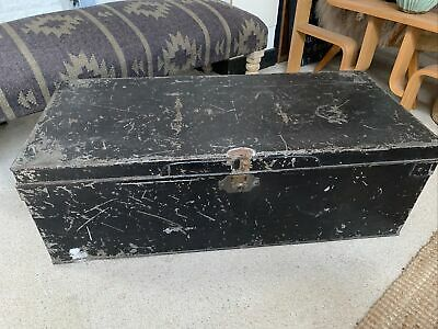 LARGE VINTAGE DISTRESSED METAL STORAGE CABIN TRUNK / CHEST~COFFEE TABLE~HANDLES