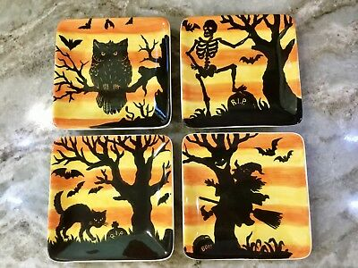 Square Scary Halloween Scenes Dessert Plates. Orange Black. Set Of 4. New.