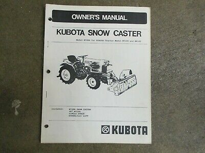Kubota B748 A B 748 Snow Blower Owners Parts Maintenance Manual