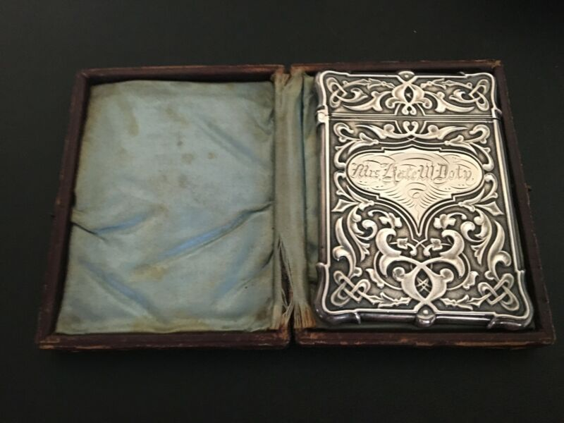 Whiting Mfg Co. Sterling Silver Card Holder w/ Original Case c. 1880