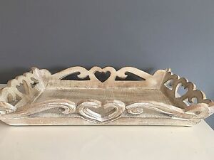SHABBY CHIC  VINTAGE STYLE MANGO WOOD TRAY HEART RUSTIC DRESSING TABLE LOUNGE