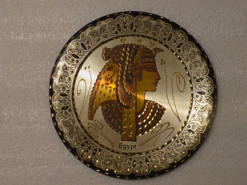 Vintage Egyptian Pharaoh Etched Art Wall Copper Plate Decor (Map On Back)