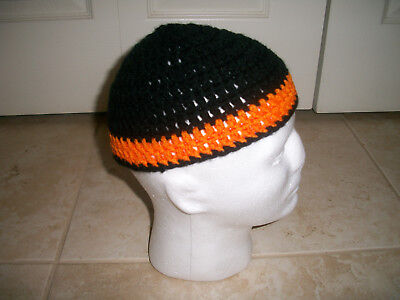 Adult Handmade Crochet Skull Cap Kufi Beanie Hat Black and Orange Harley (Crochet Hat Beanie Cap)