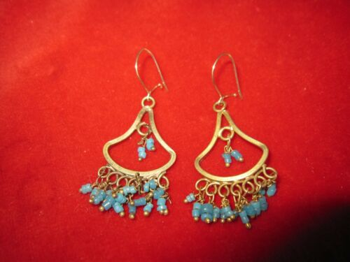 Vintage Gold Tone Turquoise Colored Beaded Dangle Earrings
