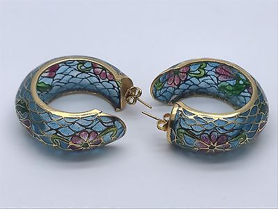 VINTAGE CHINESE PLIQUE A JOUR ENAMEL STAINED GLASS CLOISONNE HOOP EARRINGS 1.75""