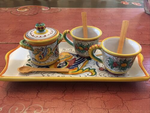 DERUTA HAND PAINTED COFFEE SET TRAY 2 CUPS SUGAR BOWL ITALIAN POTTERY W/SPOONS - $24.50