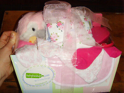 NEW baby girls baby shower gift basket book toy mitts socks towels pink penguin