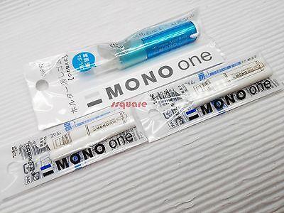 1 Plastic Eraser 4 Refills Tombow Mono One 7cm Mini Eraser Pen Light Blue