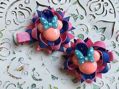 Pink & Blue Minnie Mouse  Girls Flower Hairbow Clip Left & Right Side Clips NEW