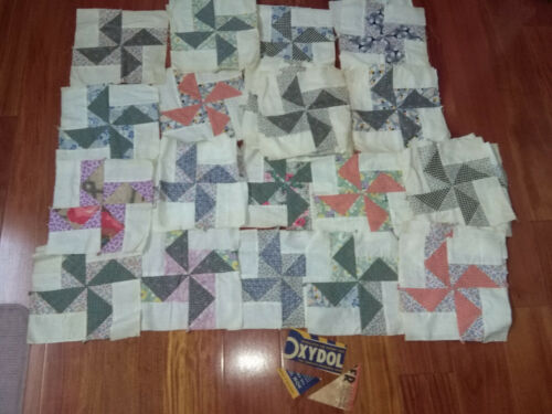 42 Handsewn vtg Antique PINWHEEL QUILT SQUARES Blocks Lot~9.5x9.5 UNUSED