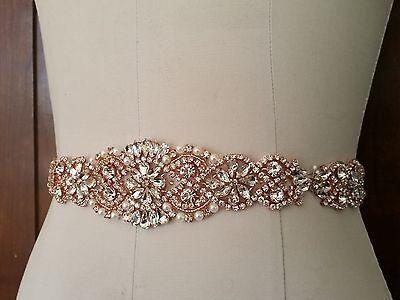 "Wedding Dress Sash Belt - Rose Gold Crystal Pearl Sash Belt = 14 1/2"" long"