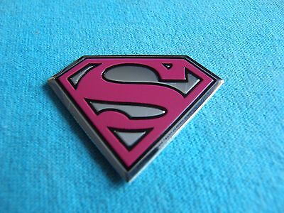 DC Comics Super Girl Pink & Silver Logo 1.5 Inch MINI Metal Metallic Sticker Dc Metallic Silver Logo Sticker