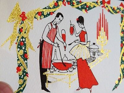 Vintage Christmas Card UNUSED MCM Lady Dress Man In Apron Cocktail Party Invite