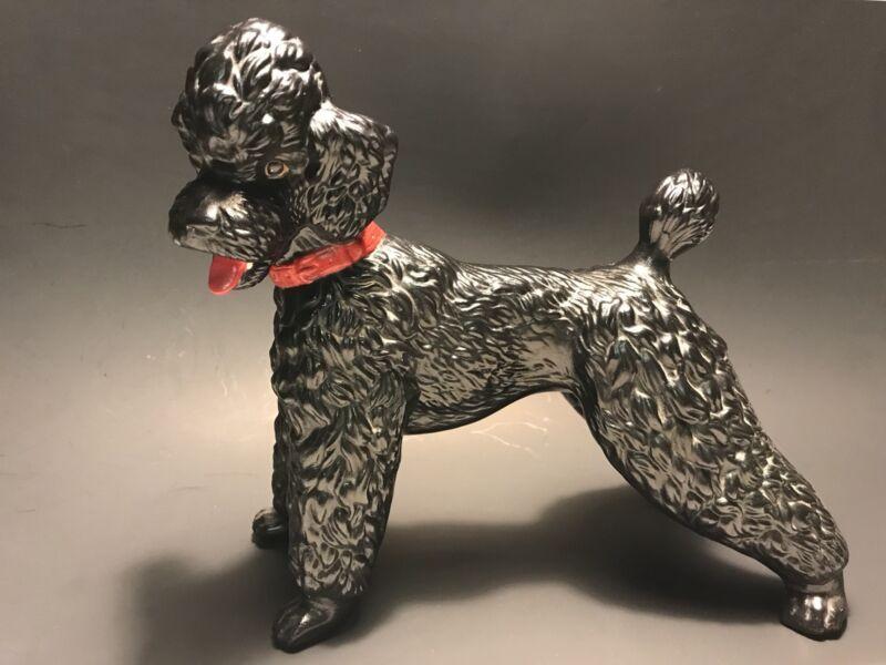 """Large 11 1/2"""" VINTAGE Black Poodle POTTERY SCULPTURE Hollywood Regency c1960s"""