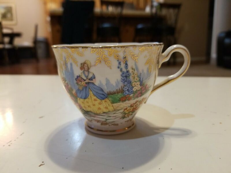 Vintage Colclough Tea Cup Only English Woman in Flower Garden Bone China