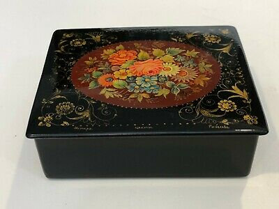 Hand Painted Russian Trinket Box Russian Troika Lacquer Box Flowers On Sale Jewelry Box